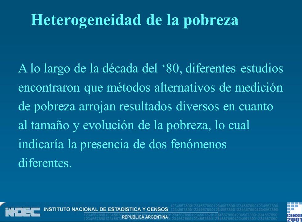 Se reconocen dos fenómenos: privación patrimonialun núcleo duro o privación patrimonial privación de recursos corrientesotro más sensible a los vaivenes del ciclo económico o privación de recursos corrientes Heterogeneidad de la pobreza