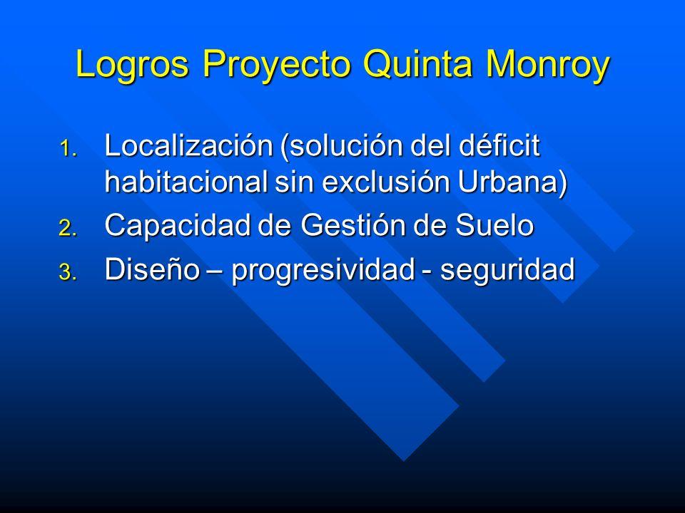 Logros Proyecto Quinta Monroy 1. Localización (solución del déficit habitacional sin exclusión Urbana) 2. Capacidad de Gestión de Suelo 3. Diseño – pr