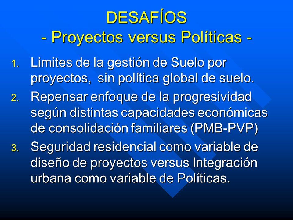 DESAFÍOS - Proyectos versus Políticas - 1. Limites de la gestión de Suelo por proyectos, sin política global de suelo. 2. Repensar enfoque de la progr