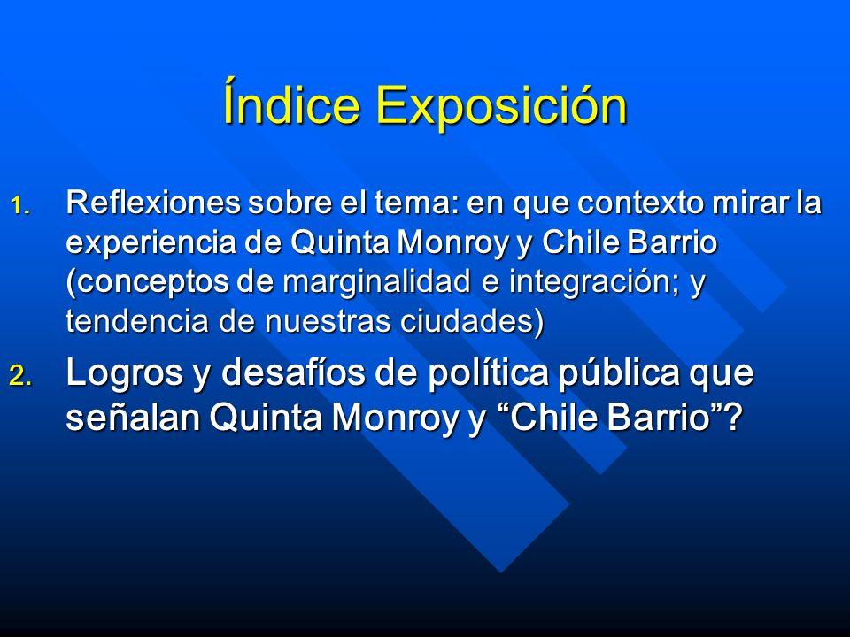 Índice Exposición 1. Reflexiones sobre el tema: en que contexto mirar la experiencia de Quinta Monroy y Chile Barrio (conceptos de marginalidad e inte