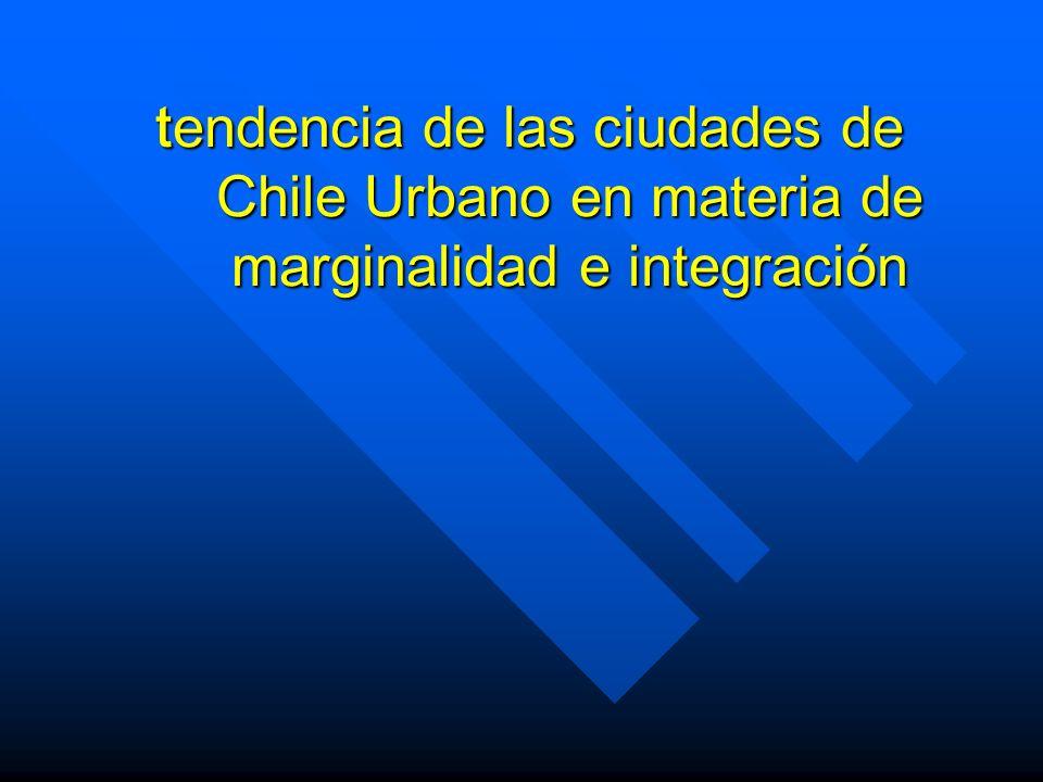 tendencia de las ciudades de Chile Urbano en materia de marginalidad e integración tendencia de las ciudades de Chile Urbano en materia de marginalida