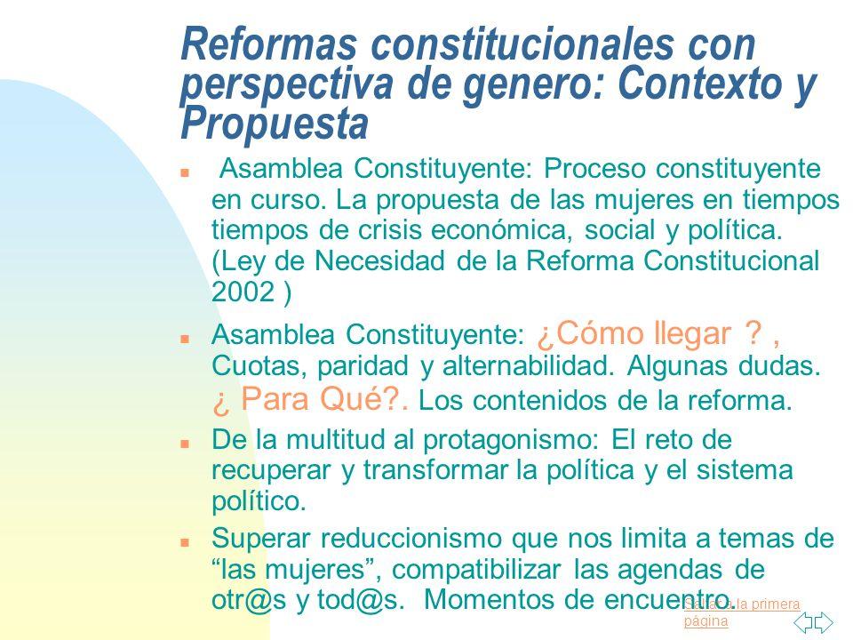 Saltar a la primera página Reformas constitucionales con perspectiva de genero: Contexto y Propuesta n Asamblea Constituyente: Proceso constituyente en curso.