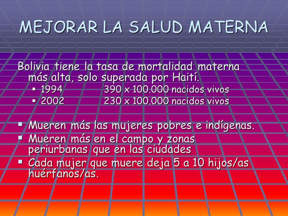 MEJORAR LA SALUD MATERNA Bolivia tiene la tasa de mortalidad materna más alta, solo superada por Haití. 1994390 x 100.000 nacidos vivos 1994390 x 100.
