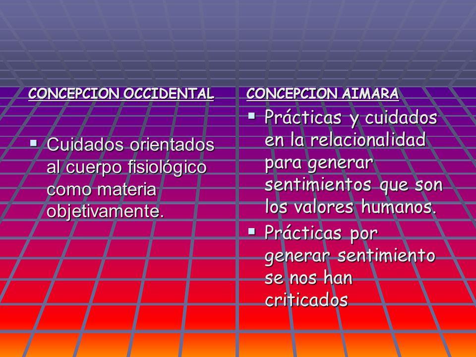 CONCEPCION OCCIDENTAL Cuidados orientados al cuerpo fisiológico como materia objetivamente. Cuidados orientados al cuerpo fisiológico como materia obj