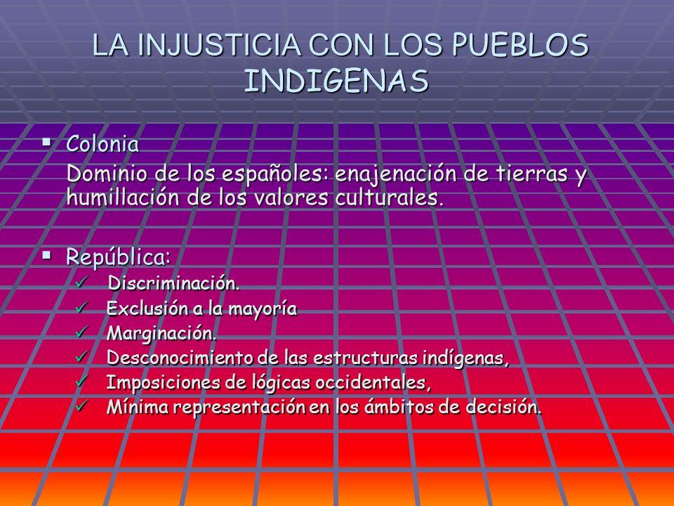 LA INJUSTICIA CON LOS PUEBLOS INDIGENAS LA INJUSTICIA CON LOS PUEBLOS INDIGENAS Colonia Colonia Dominio de los españoles: enajenación de tierras y hum