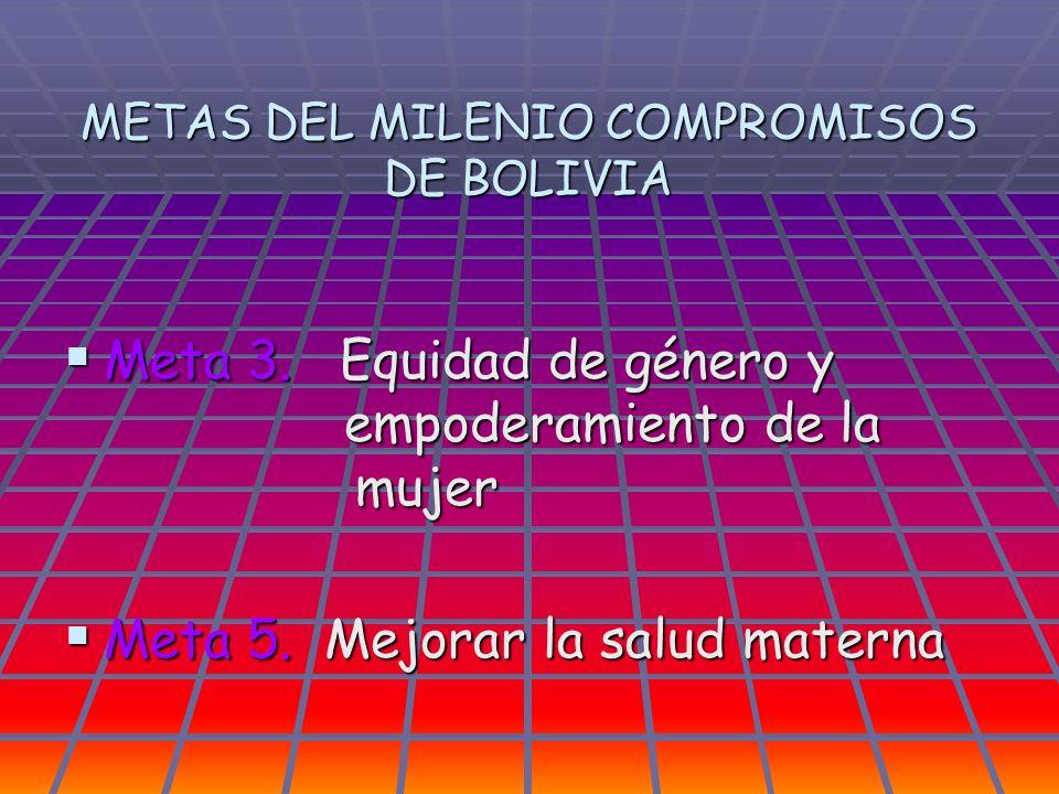 METAS DEL MILENIO COMPROMISOS DE BOLIVIA Meta 3. Equidad de género y empoderamiento de la mujer Meta 3. Equidad de género y empoderamiento de la mujer