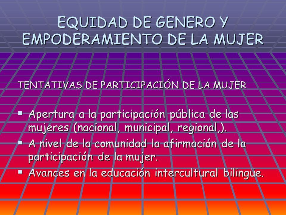 EQUIDAD DE GENERO Y EMPODERAMIENTO DE LA MUJER TENTATIVAS DE PARTICIPACIÓN DE LA MUJER Apertura a la participación pública de las mujeres (nacional, m