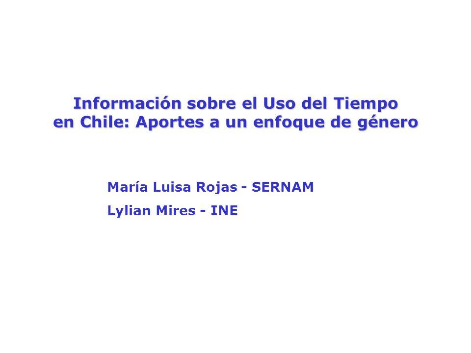 Información sobre el Uso del Tiempo en Chile: Aportes a un enfoque de género María Luisa Rojas - SERNAM Lylian Mires - INE