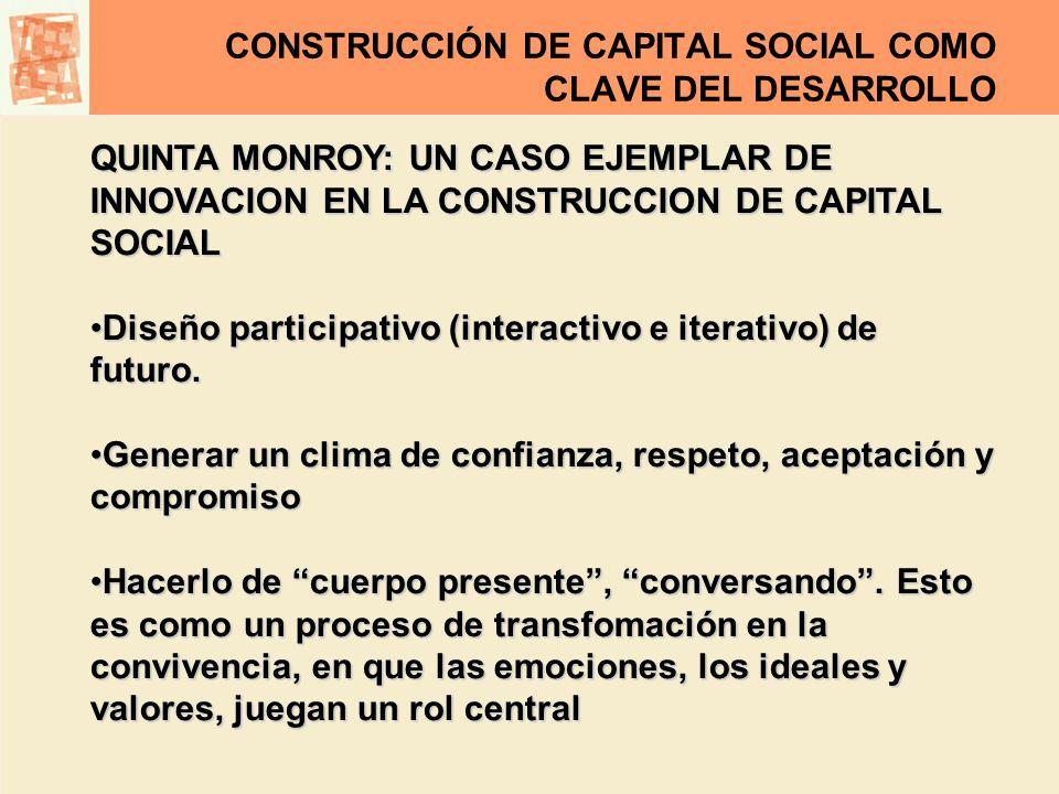 CONSTRUCCIÓN DE CAPITAL SOCIAL COMO CLAVE DEL DESARROLLO QUINTA MONROY: UN CASO EJEMPLAR DE INNOVACION EN LA CONSTRUCCION DE CAPITAL SOCIAL Diseño par