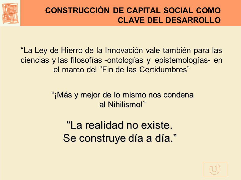 CONSTRUCCIÓN DE CAPITAL SOCIAL COMO CLAVE DEL DESARROLLO La Ley de Hierro de la Innovación vale también para las ciencias y las filosofías -ontologías