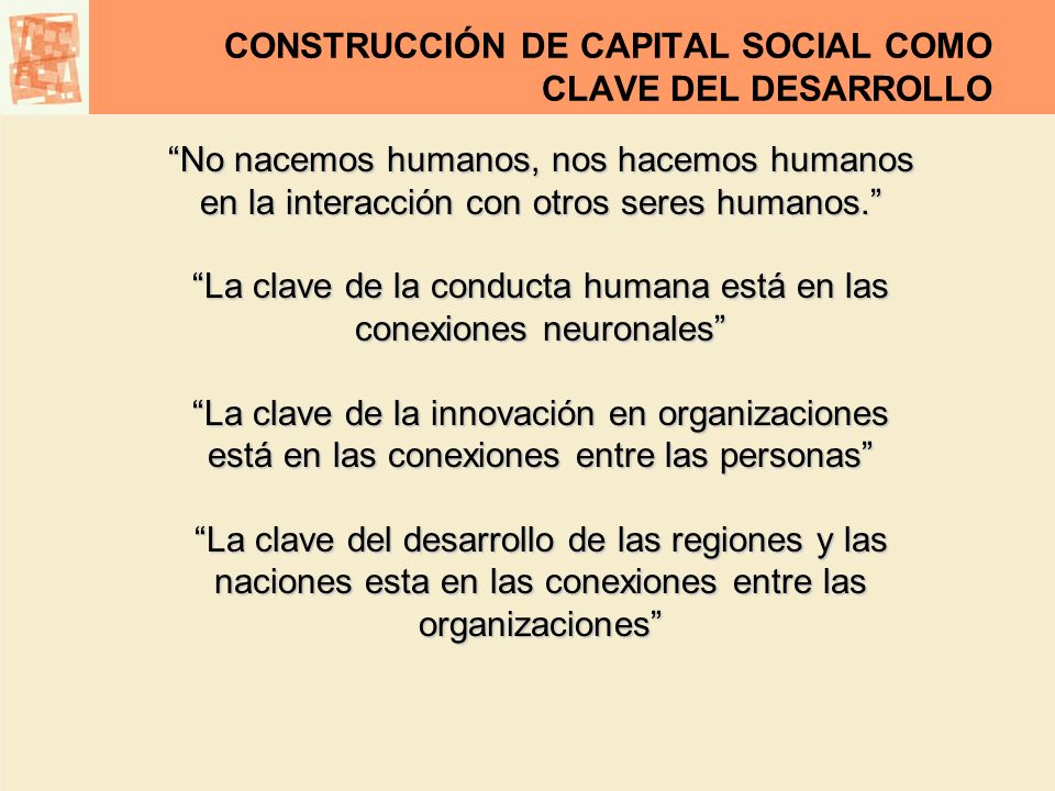 CONSTRUCCIÓN DE CAPITAL SOCIAL COMO CLAVE DEL DESARROLLO CAPITAL SOCIAL La capacidad de producir valor de una organización social está determinada no sólo por la cantidad y calidad de las neuronas sino también y muy centralmente por la cantidad y calidad de las sinapsis......