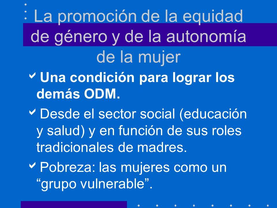 La promoción de la equidad de género y de la autonomía de la mujer Una condición para lograr los demás ODM.