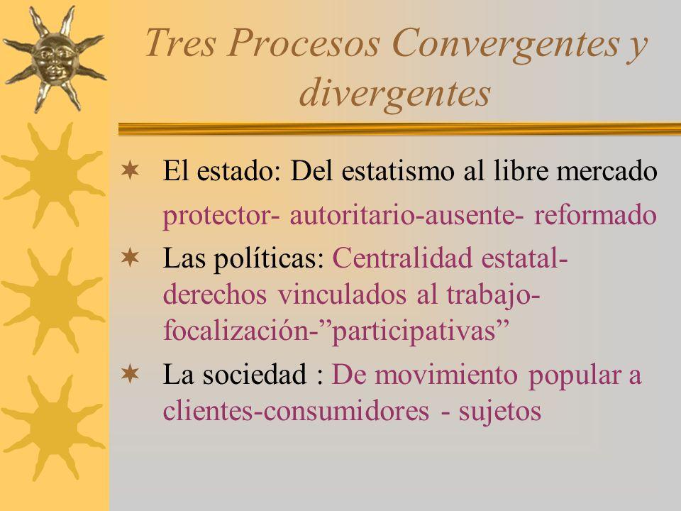 Tres Procesos Convergentes y divergentes El estado: Del estatismo al libre mercado protector- autoritario-ausente- reformado Las políticas: Centralida