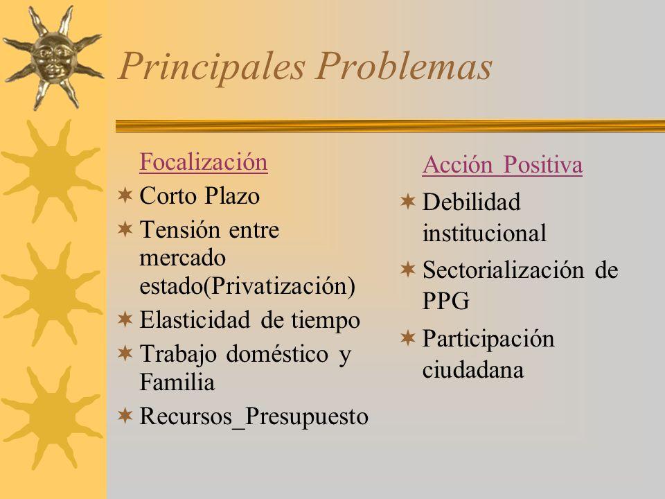 Principales Problemas Focalización Corto Plazo Tensión entre mercado estado(Privatización) Elasticidad de tiempo Trabajo doméstico y Familia Recursos_