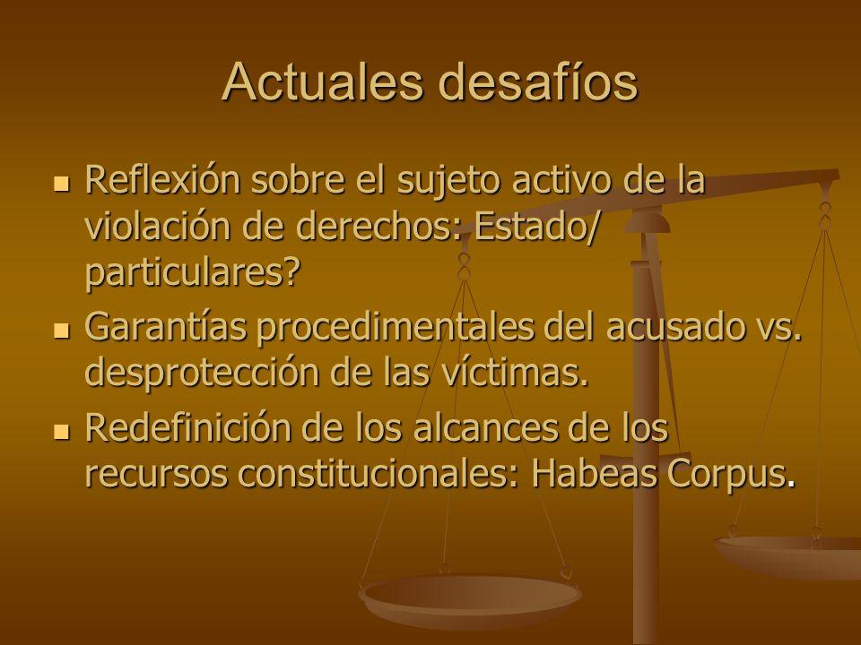 Actuales desafíos Reflexión sobre el sujeto activo de la violación de derechos: Estado/ particulares? Reflexión sobre el sujeto activo de la violación