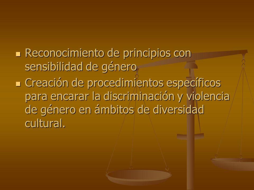 Reconocimiento de principios con sensibilidad de género Reconocimiento de principios con sensibilidad de género Creación de procedimientos específicos