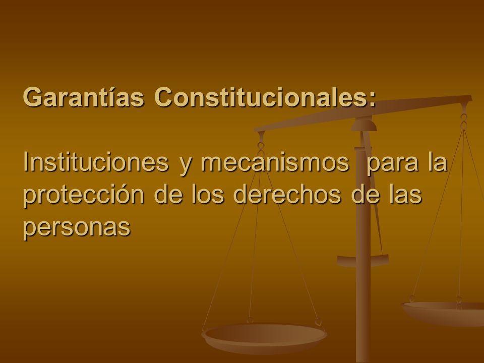 Garantías Constitucionales: Instituciones y mecanismos para la protección de los derechos de las personas
