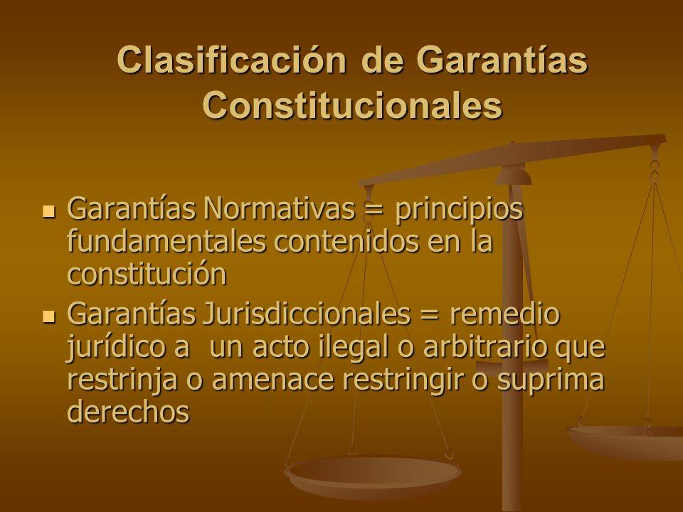 Clasificación de Garantías Constitucionales Garantías Normativas = principios fundamentales contenidos en la constitución Garantías Normativas = princ