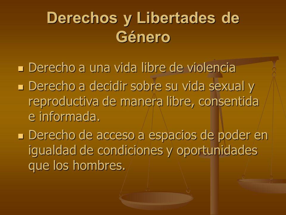 Derechos y Libertades de Género Derecho a una vida libre de violencia Derecho a una vida libre de violencia Derecho a decidir sobre su vida sexual y r