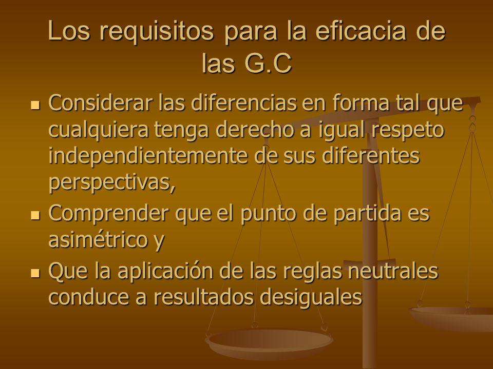 Los requisitos para la eficacia de las G.C Considerar las diferencias en forma tal que cualquiera tenga derecho a igual respeto independientemente de