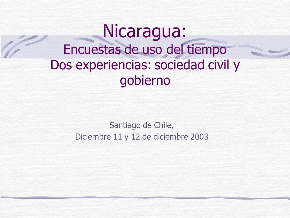 Nicaragua: Encuestas de uso del tiempo Dos experiencias: sociedad civil y gobierno Santiago de Chile, Diciembre 11 y 12 de diciembre 2003