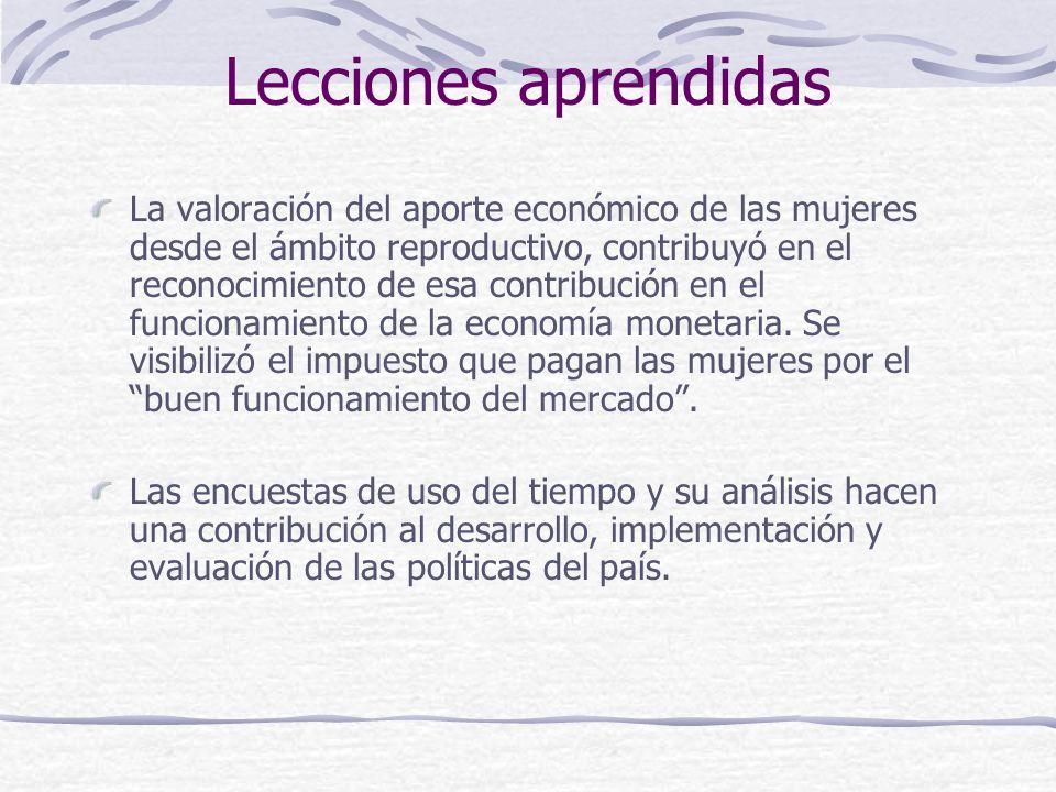 Lecciones aprendidas La valoración del aporte económico de las mujeres desde el ámbito reproductivo, contribuyó en el reconocimiento de esa contribución en el funcionamiento de la economía monetaria.