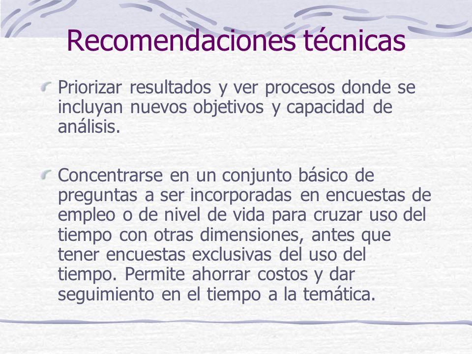 Recomendaciones técnicas Priorizar resultados y ver procesos donde se incluyan nuevos objetivos y capacidad de análisis.