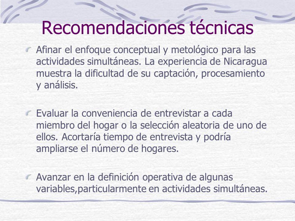 Recomendaciones técnicas Afinar el enfoque conceptual y metológico para las actividades simultáneas.