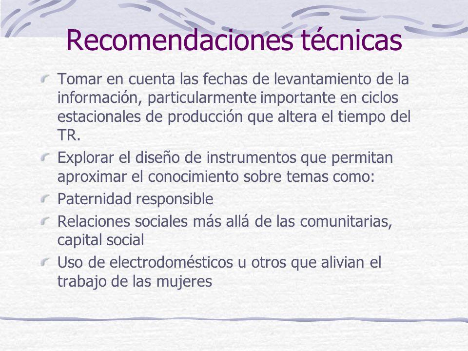 Recomendaciones técnicas Tomar en cuenta las fechas de levantamiento de la información, particularmente importante en ciclos estacionales de producción que altera el tiempo del TR.