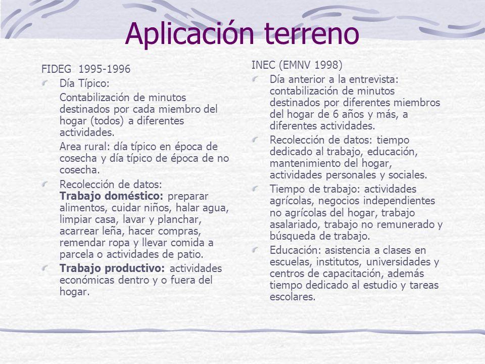 Aplicación terreno FIDEG 1995-1996 Día Típico: Contabilización de minutos destinados por cada miembro del hogar (todos) a diferentes actividades.