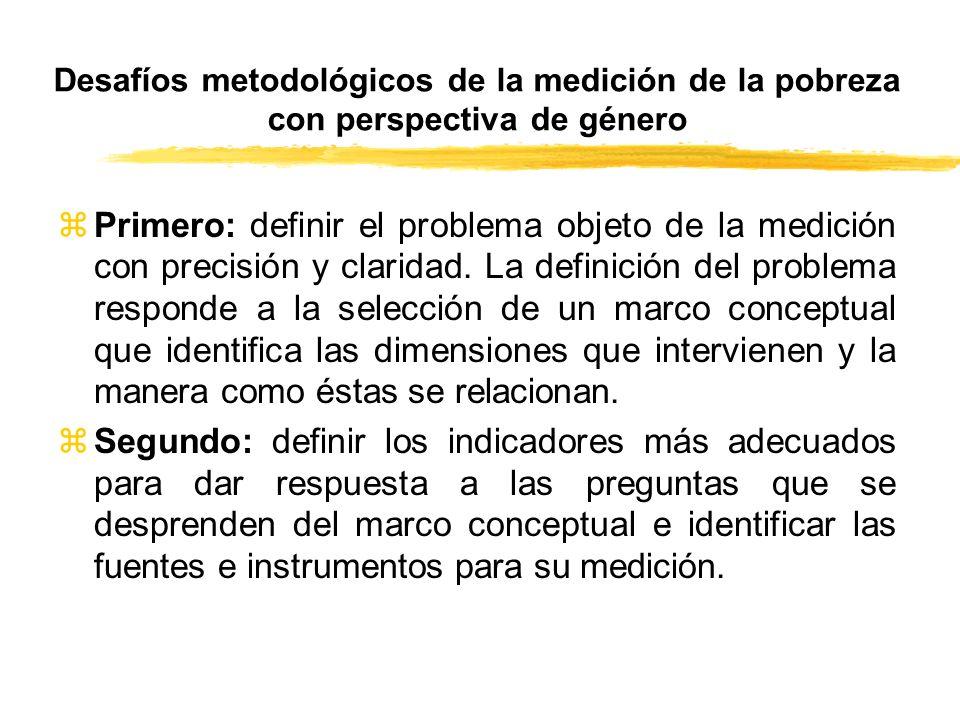 Desafíos metodológicos de la medición de la pobreza con perspectiva de género zPrimero: definir el problema objeto de la medición con precisión y clar