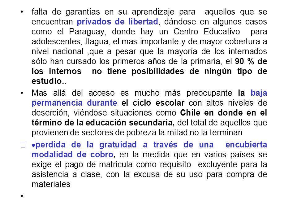 falta de garantías en su aprendizaje para aquellos que se encuentran privados de libertad, dándose en algunos casos como el Paraguay, donde hay un Cen