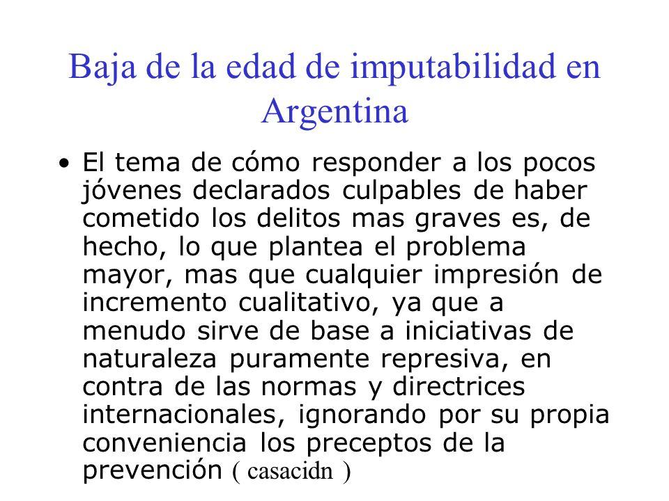 Baja de la edad de imputabilidad en Argentina El tema de cómo responder a los pocos jóvenes declarados culpables de haber cometido los delitos mas gra