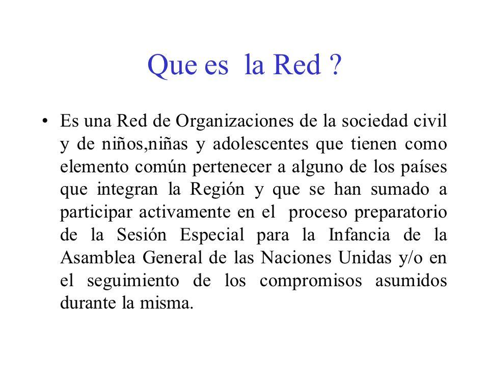 Que es la Red ? Es una Red de Organizaciones de la sociedad civil y de niños,niñas y adolescentes que tienen como elemento común pertenecer a alguno d