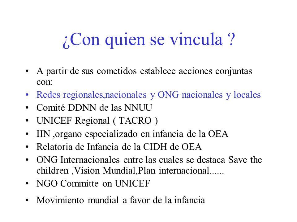 ¿Con quien se vincula ? A partir de sus cometidos establece acciones conjuntas con: Redes regionales,nacionales y ONG nacionales y locales Comité DDNN