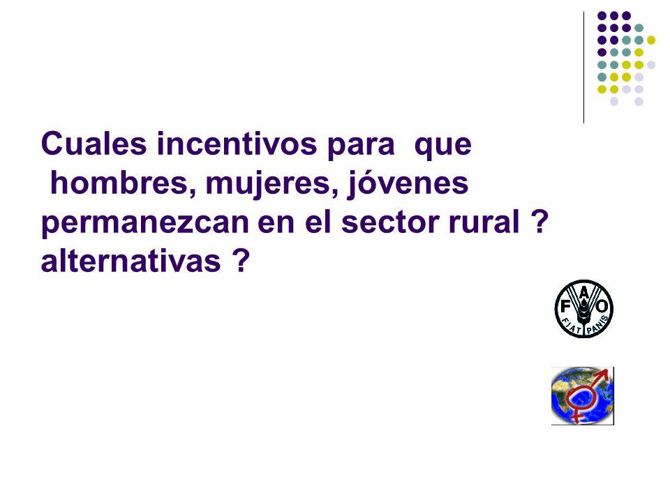 Cuales incentivos para que hombres, mujeres, jóvenes permanezcan en el sector rural ? alternativas ?