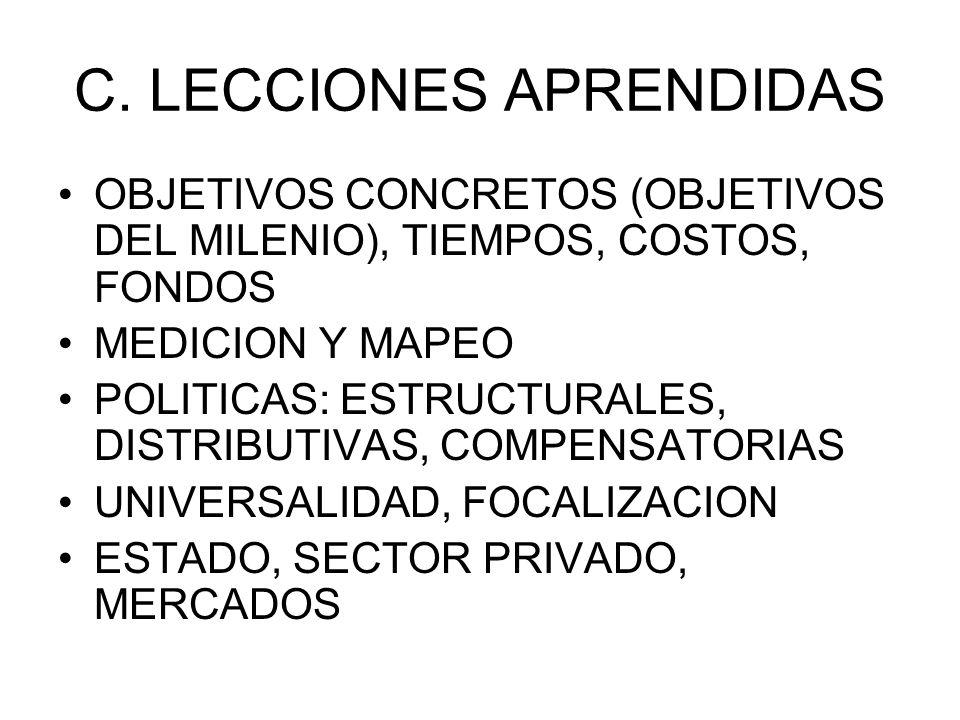 C. LECCIONES APRENDIDAS OBJETIVOS CONCRETOS (OBJETIVOS DEL MILENIO), TIEMPOS, COSTOS, FONDOS MEDICION Y MAPEO POLITICAS: ESTRUCTURALES, DISTRIBUTIVAS,