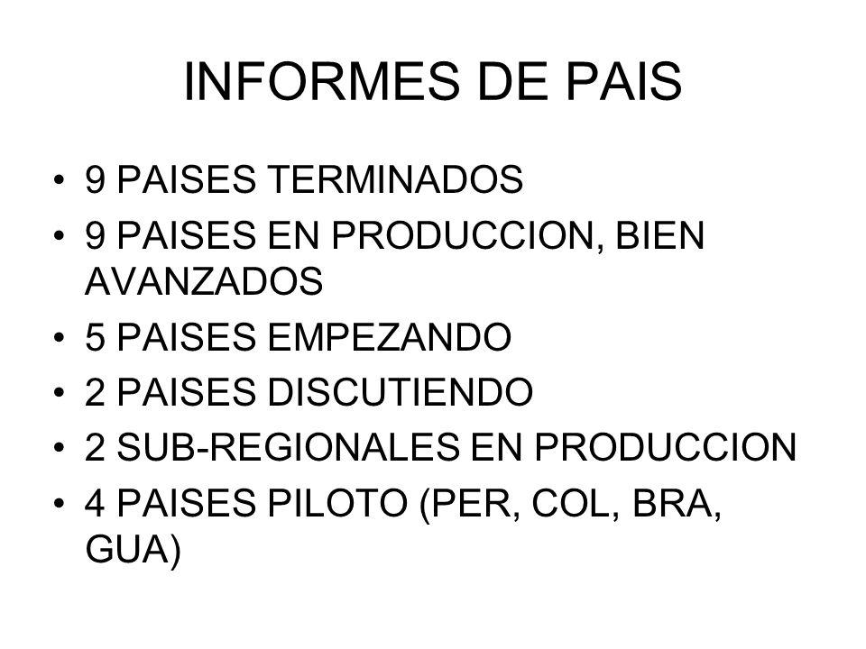 INFORMES DE PAIS 9 PAISES TERMINADOS 9 PAISES EN PRODUCCION, BIEN AVANZADOS 5 PAISES EMPEZANDO 2 PAISES DISCUTIENDO 2 SUB-REGIONALES EN PRODUCCION 4 PAISES PILOTO (PER, COL, BRA, GUA)