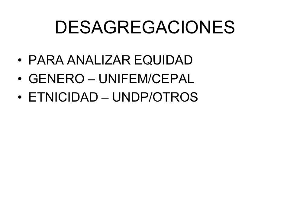 DESAGREGACIONES PARA ANALIZAR EQUIDAD GENERO – UNIFEM/CEPAL ETNICIDAD – UNDP/OTROS