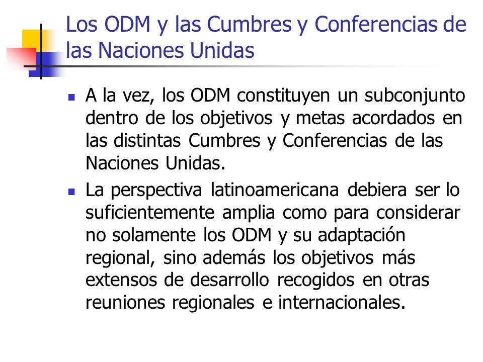 Los ODM y las Cumbres y Conferencias de las Naciones Unidas A la vez, los ODM constituyen un subconjunto dentro de los objetivos y metas acordados en