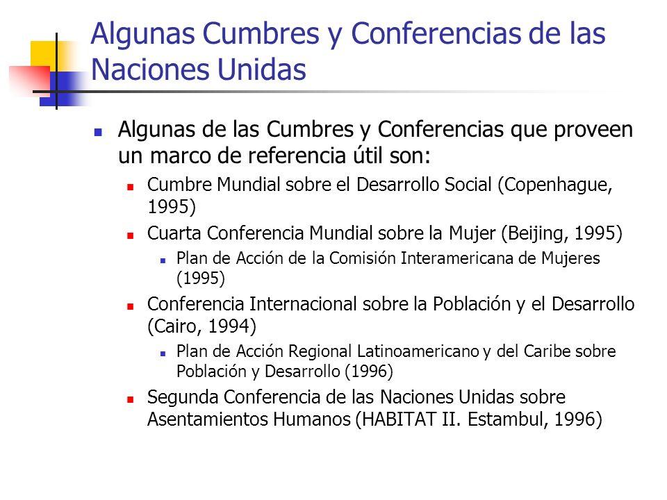 Algunas Cumbres y Conferencias de las Naciones Unidas Algunas de las Cumbres y Conferencias que proveen un marco de referencia útil son: Cumbre Mundia