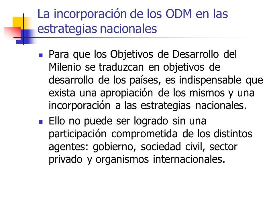 La incorporación de los ODM en las estrategias nacionales Para que los Objetivos de Desarrollo del Milenio se traduzcan en objetivos de desarrollo de