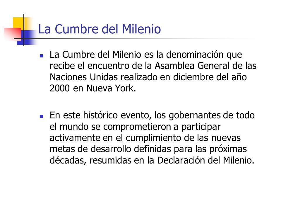 La Cumbre del Milenio La Cumbre del Milenio es la denominación que recibe el encuentro de la Asamblea General de las Naciones Unidas realizado en dici