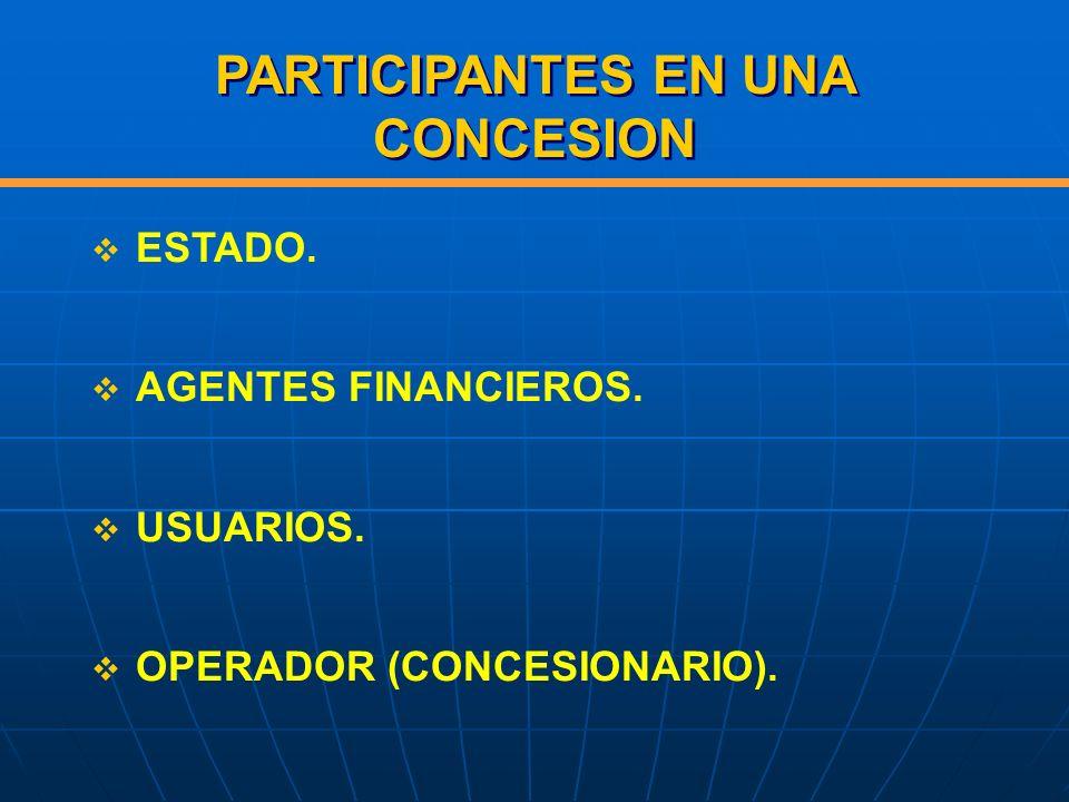 PARTICIPANTES EN UNA CONCESION ESTADO. AGENTES FINANCIEROS. USUARIOS. OPERADOR (CONCESIONARIO).