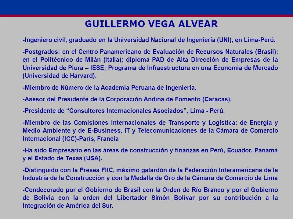 GUILLERMO VEGA ALVEAR - Ingeniero civil, graduado en la Universidad Nacional de Ingeniería (UNI), en Lima-Perú. -Postgrados: en el Centro Panamericano