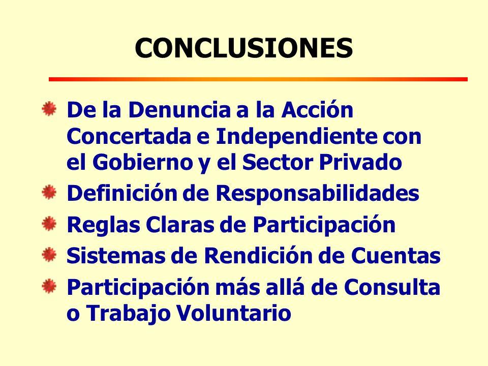 CONCLUSIONES De la Denuncia a la Acción Concertada e Independiente con el Gobierno y el Sector Privado Definición de Responsabilidades Reglas Claras de Participación Sistemas de Rendición de Cuentas Participación más allá de Consulta o Trabajo Voluntario