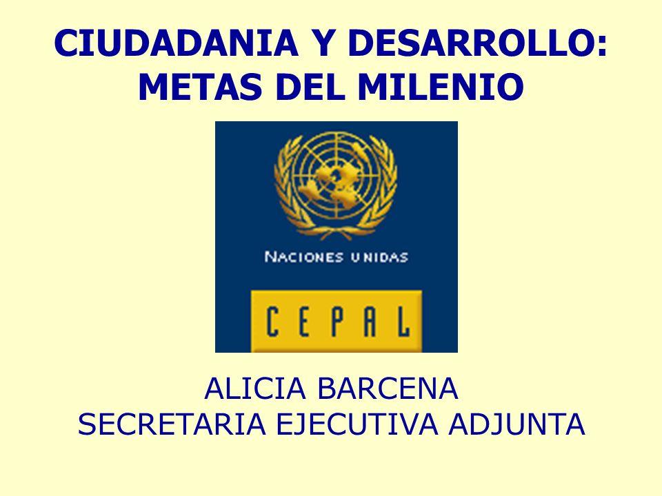 CIUDADANIA Y DESARROLLO: METAS DEL MILENIO ALICIA BARCENA SECRETARIA EJECUTIVA ADJUNTA