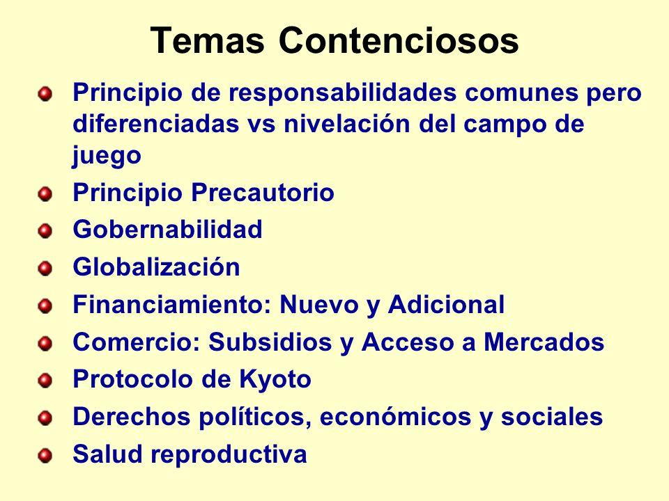 Temas Contenciosos Principio de responsabilidades comunes pero diferenciadas vs nivelación del campo de juego Principio Precautorio Gobernabilidad Globalización Financiamiento: Nuevo y Adicional Comercio: Subsidios y Acceso a Mercados Protocolo de Kyoto Derechos políticos, económicos y sociales Salud reproductiva