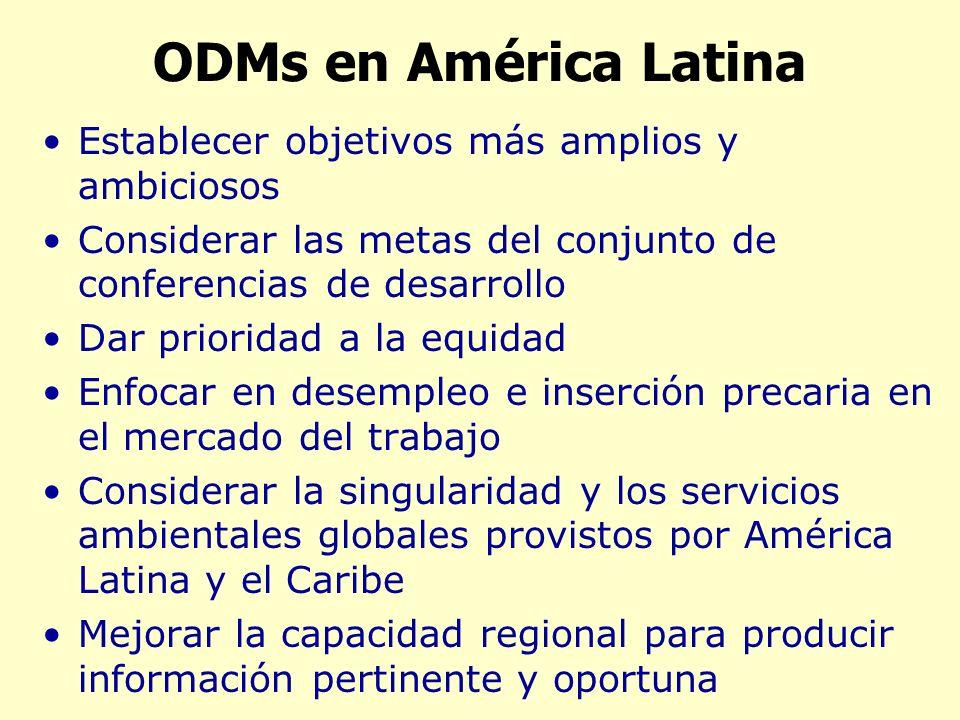 ODMs en América Latina Establecer objetivos más amplios y ambiciosos Considerar las metas del conjunto de conferencias de desarrollo Dar prioridad a la equidad Enfocar en desempleo e inserción precaria en el mercado del trabajo Considerar la singularidad y los servicios ambientales globales provistos por América Latina y el Caribe Mejorar la capacidad regional para producir información pertinente y oportuna