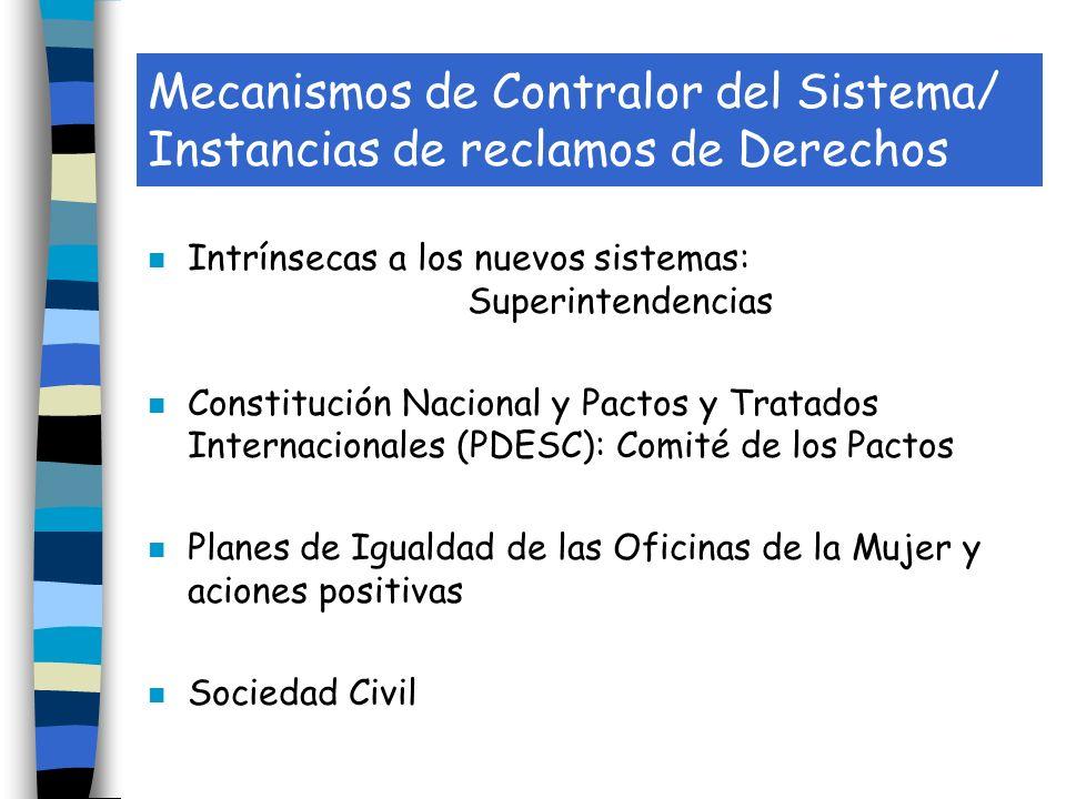 Mecanismos de Contralor del Sistema/ Instancias de reclamos de Derechos n Intrínsecas a los nuevos sistemas: Superintendencias n Constitución Nacional y Pactos y Tratados Internacionales (PDESC): Comité de los Pactos n Planes de Igualdad de las Oficinas de la Mujer y aciones positivas n Sociedad Civil